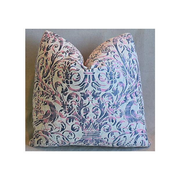 Silk Custom Tailored Italian Mariano Fortuny Uccelli Feather/Down Pillow For Sale - Image 7 of 7