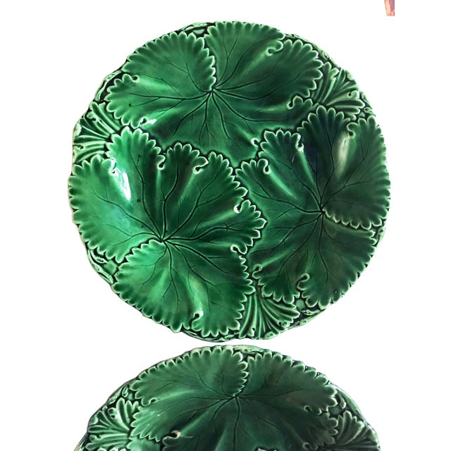 Green Pair of Green Majolica Cabbage Leaf Plates by Copeland For Sale - Image 8 of 10