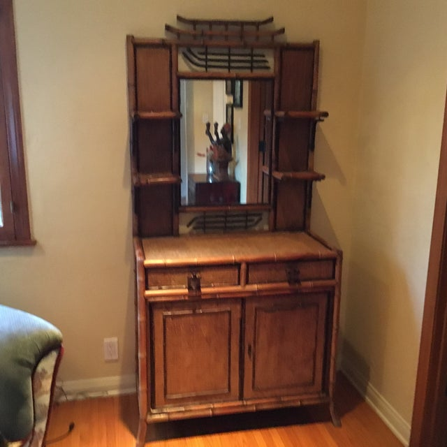 Bamboo hutch. Made in the 1940s in the style of boho chic.