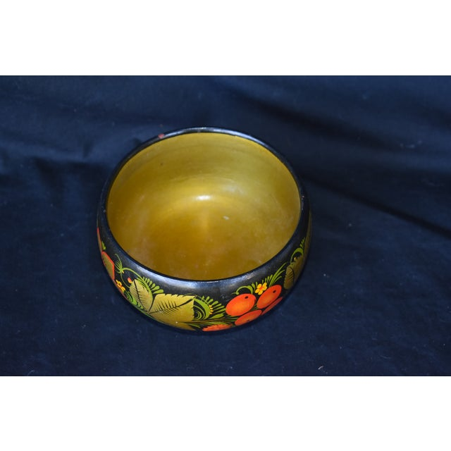 Folk Art Hand Painted Russian Wooden Bowl For Sale - Image 3 of 5