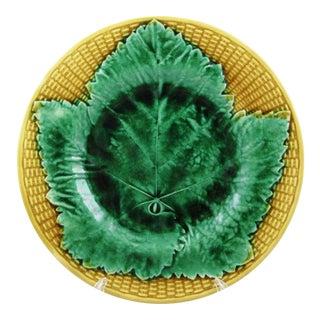 19th Century Josiah Wedgwood Majolica Basket & Leaf Plate For Sale