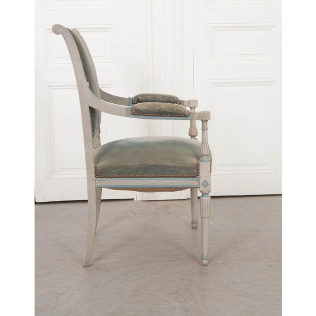 French 19th Century Second Empire Painted Fauteuil For Sale - Image 4 of 13