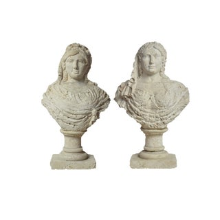 Spectacular and Probably Unique Pair of Carved Coral Busts of Aristocratic Women For Sale