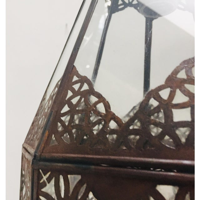 Moroccan Light Fixture in Moorish Design Clear Glass and Metal Filigree For Sale - Image 9 of 12