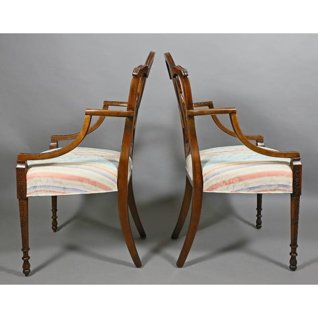 Neoclassical Pair of Edwardian Finely Carved Mahogany Armchairs For Sale - Image 3 of 10