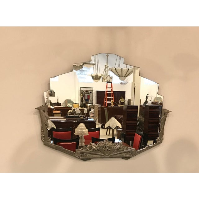 French Art Deco Geometric and Floral Wall Mirror With Skyscraper Motif For Sale - Image 4 of 10