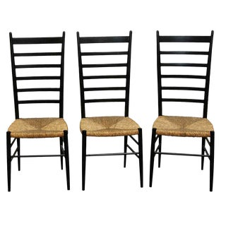 Vintage Mid Century Black Ladder Back Chairs - Set of 3 For Sale