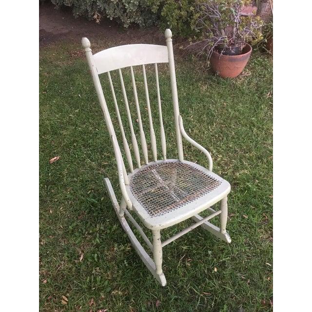 Vintage Boho Light Green Wicker Rocking Chair Rocker For Sale - Image 9 of 9