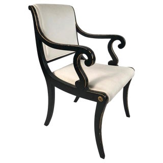 Regency Style Ebonized and Parcel Gilt Armchair For Sale