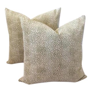 "Cowtan and Tout ""Malabar"" Gros Point Velvet Pillows - A Pair For Sale"
