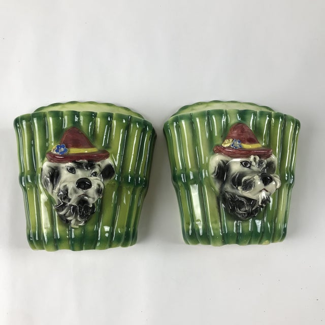 1950s Italian Majolica Poodle Dog Wall Pockets - a Pair For Sale - Image 13 of 13