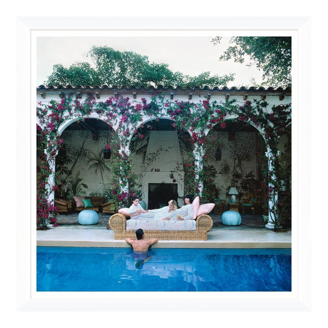"""Slim Aarons, """"Sofa by the Pool,"""" January 1, 1984 Getty Images Gallery Framed Art Print For Sale"""