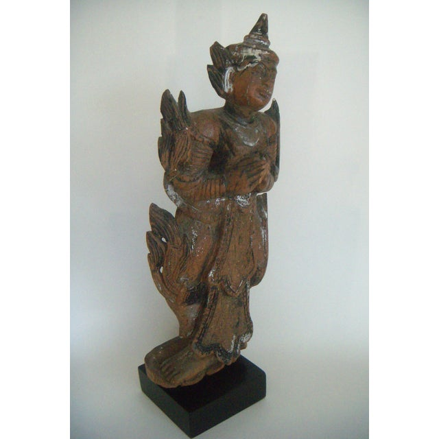 Antique Wooden Thai Temple Figure - Image 2 of 9