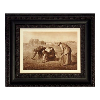 """Antique """"The Gleaners"""" Photogravure Engraving Jf Millet Framed For Sale"""