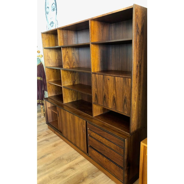 Danish Mid-Century Modern Rosewood 2 Piece Display/Credenza With Drop Leaf Bar For Sale - Image 11 of 13