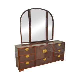 Thomasville Italian Modern Mahogany Campaign Style Long Dresser w/ Mirror