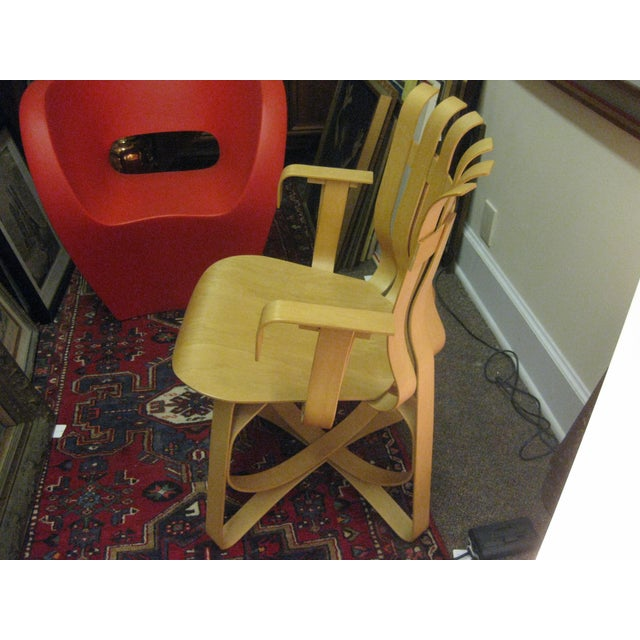 designer frank gehry 1992 knoll bentwood hat trick chair chairish