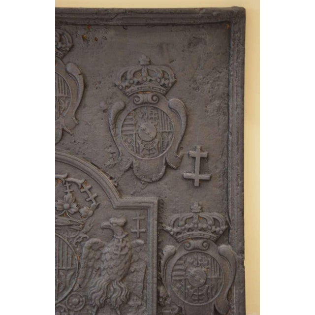 18th C. Large Fireback - Coat of Arms Lorraine from 1704 For Sale - Image 5 of 11