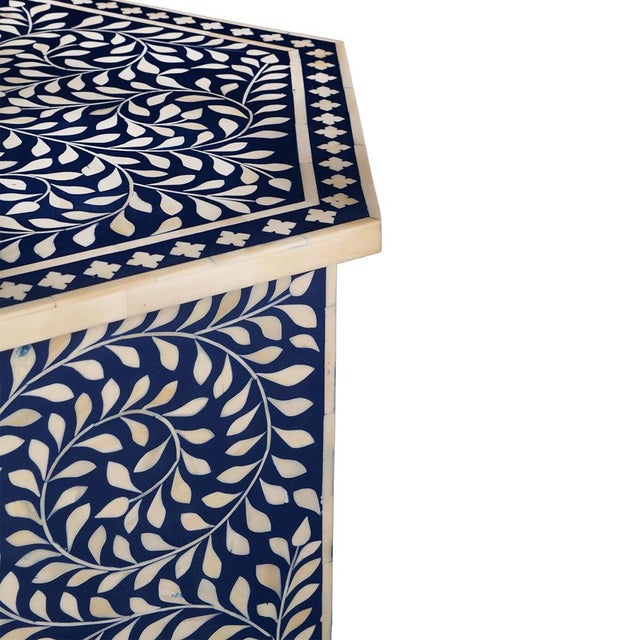 Imperial Beauty Moroccan Accent Table in Indigo For Sale - Image 4 of 5