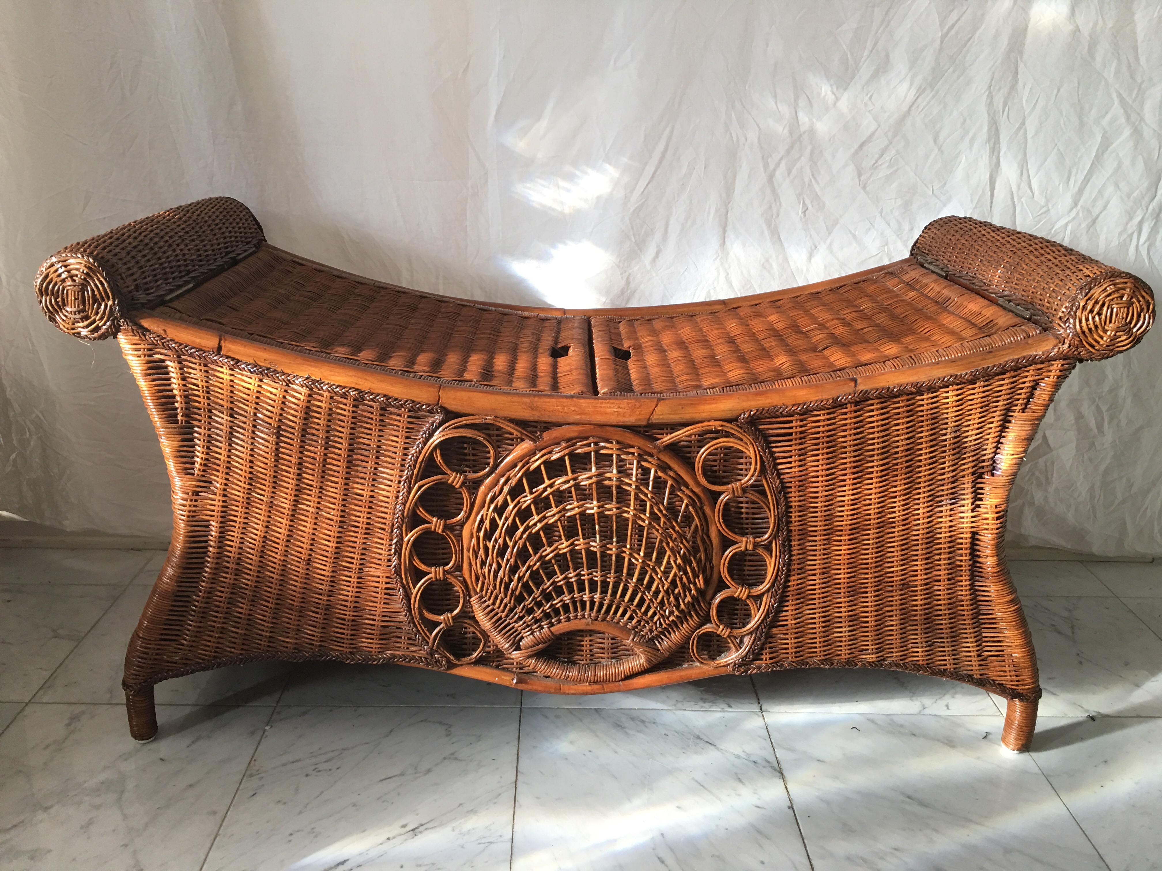 Delicieux Vintage Wicker Storage Bench   Image 8 Of 8