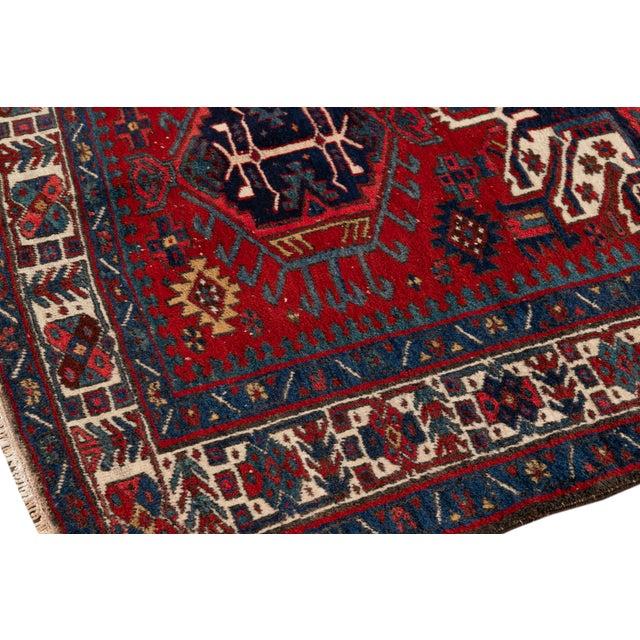 "Textile Vintage Persian Heriz Rug, 4'8"" X 7'0"" For Sale - Image 7 of 9"