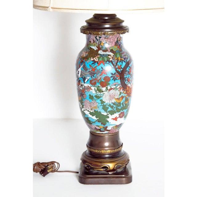 Blue Late 19th Century Japanese Meiji Cloisonne Vase as Custom Lamp For Sale - Image 8 of 13