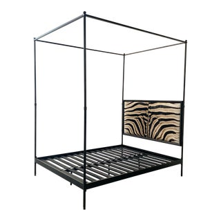 Forsyth Iron Canopy and Zebra Hide Bed For Sale