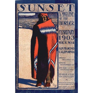 1970s Vintage Maynard Dixon Sunset Magazine Poster For Sale