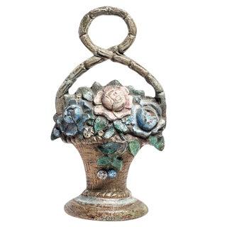 Antique Floral Bouquet Cast Iron Door Stop For Sale