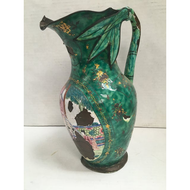 Asian Enamel on Copper Pitcher For Sale - Image 5 of 11