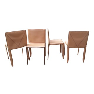 """Early Production Cattelan Italia """"Piuma"""" Leather Chairs- Set of 4 For Sale"""