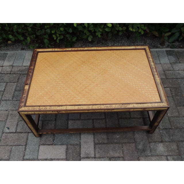 Mid-Century Modern Faux Tortoise Bamboo and Rattan Coffee Table For Sale - Image 3 of 10