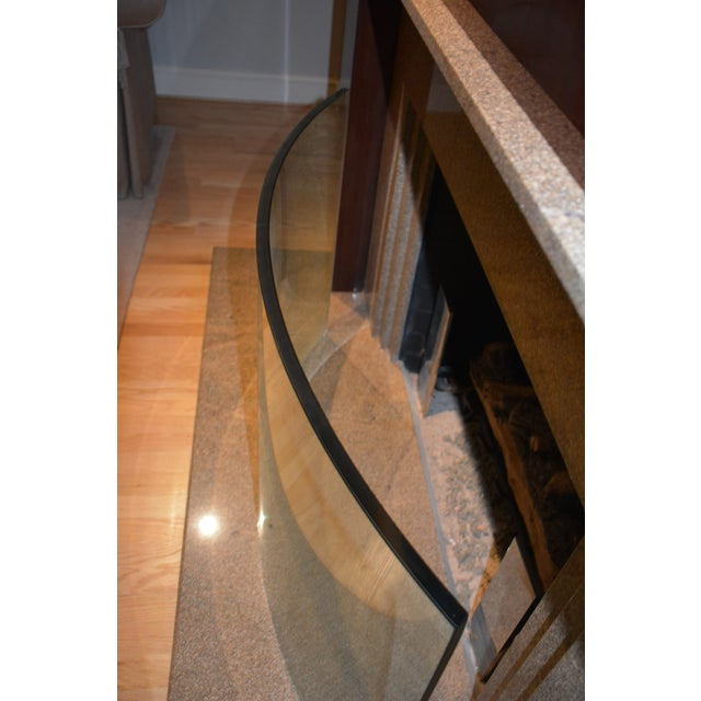 1990s Custom Curved/Bowed Glass Fireplace Screen For Sale - Image 5 of 11