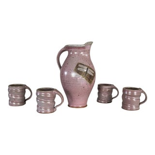Purple Studio Pottery Ceramic Handmade Hot Chocolate Set 1 Pitcher & 4 Cups For Sale