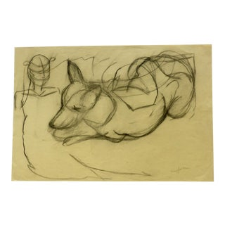 Contemporary Drawing, Charcoal Sketch of a Dog by Martha Holden For Sale
