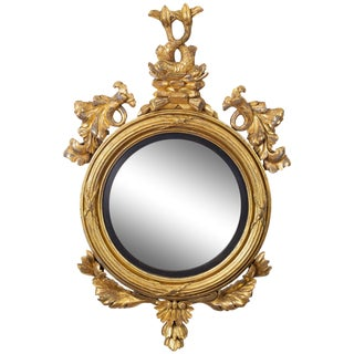 Regency Giltwood Convex Mirror with Dolphins, circa 1810 For Sale