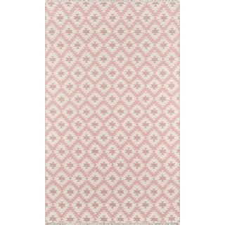 """Erin Gates Thompson Newbury Pink Hand Woven Wool Area Rug 3'6"""" X 5'6"""" For Sale"""