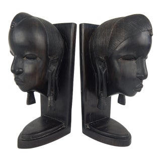 African Ebony Wood Bust Bookends - a Pair For Sale