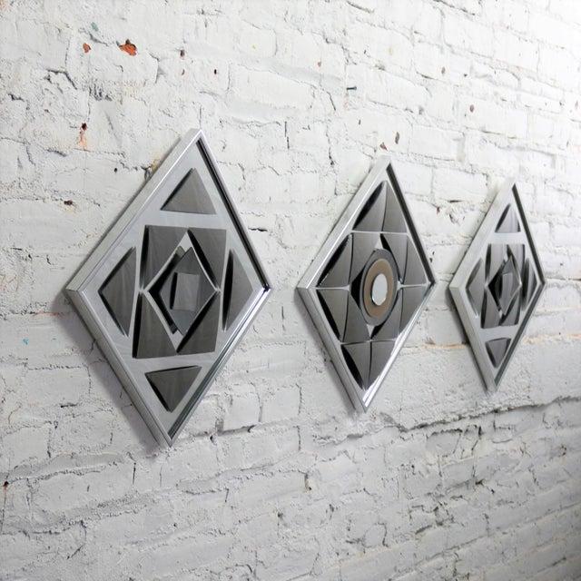 Pop Art Op Art Geometric Trio of Framed Mirror Wall Sculptures by Hal Bienenfeld For Sale - Image 6 of 13