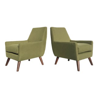 Modern Green Lounge Chairs - a Pair
