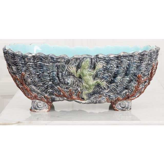 A splendid glazed Barbotine ceramic planter, made at the end of the 19th century in France. The work has an aquatic/marine...