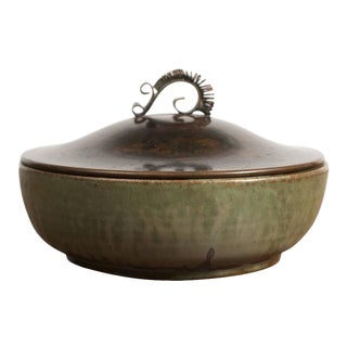Arne Bang Stoneware Bowl with Bronze Lid, 1940s For Sale