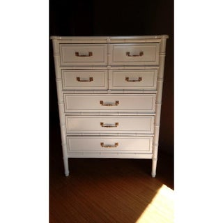 White Dresser Highboy Faux Bamboo by Henry Link Bali Hai Preview