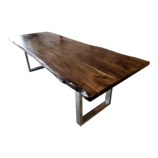 Handcrafted Live Edge Acacia Wood Dining/Conference Table For Sale