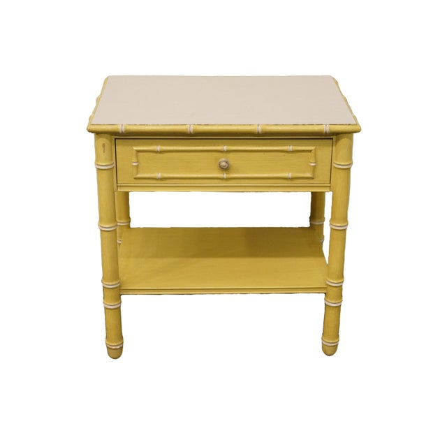 Vintage Thomasville Furniture Allegro Collection Asian Faux Bamboo Nightstand For Sale - Image 11 of 11