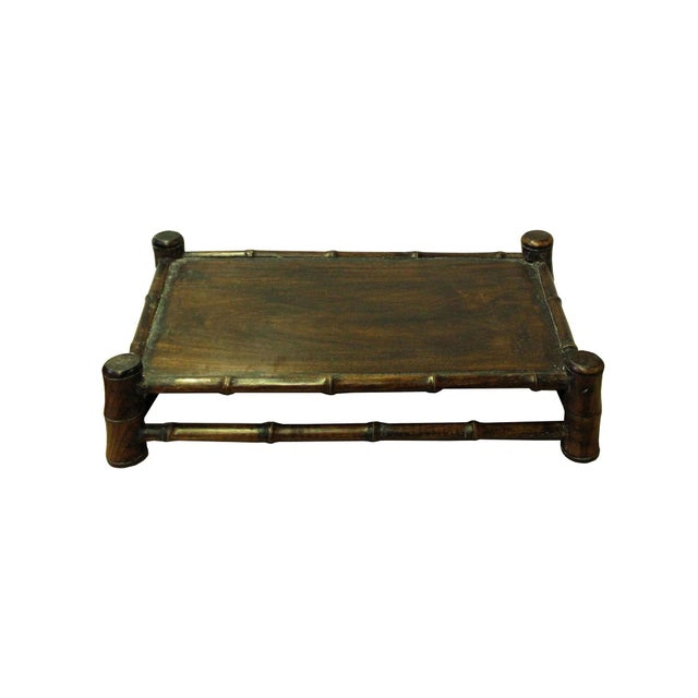 2010s Chinese Brown Wood Carved Rectangular Table Top Stand Display Easel For Sale - Image 5 of 8