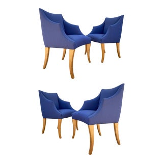 Blue Klismos-Style Donghia Armchairs, Set of 4 For Sale