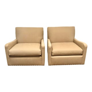 Verellen Swivel Chairs With Nailhead Tape - a Pair For Sale