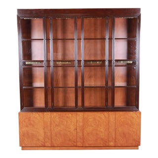 Edward Wormley for Dunbar Mahogany Superstructure Breakfront Cabinet or Bookcase Wall Unit For Sale