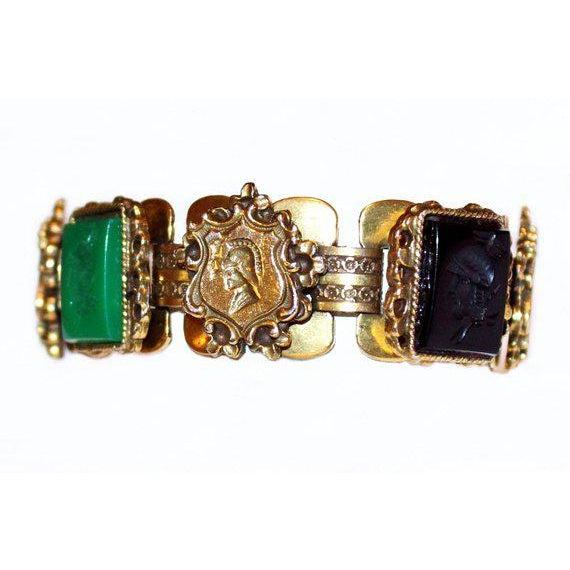 C1950s Goldtone Jeweled Intaglio Bracelet For Sale - Image 4 of 6